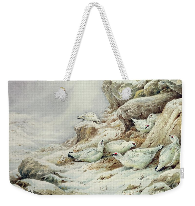 Ptarmigan Weekender Tote Bag featuring the painting Ptarmigan In Snow Covered Landscape by Carl Donner