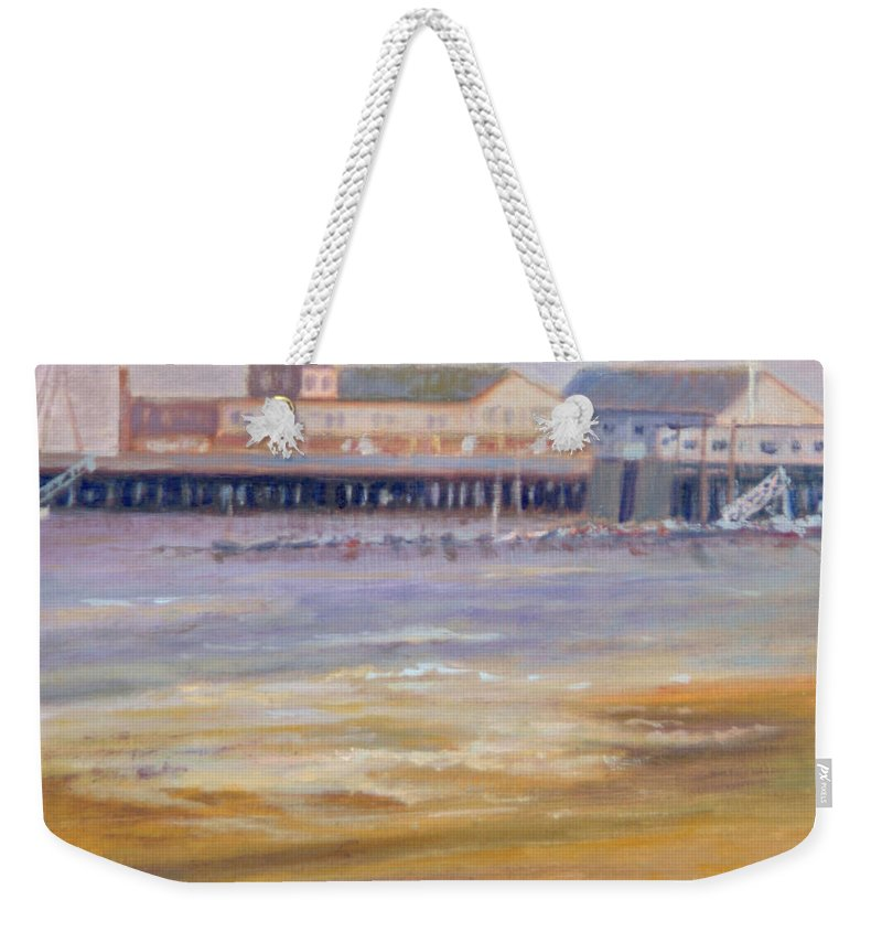 Ptown Weekender Tote Bag featuring the painting Ptown Fisherman's Wharf by Phyllis Tarlow