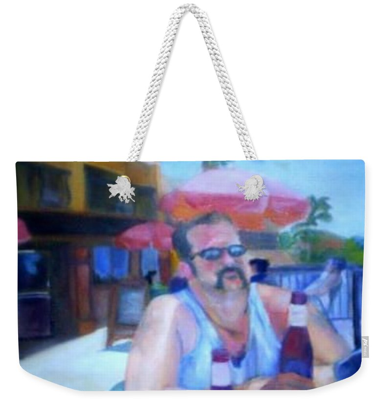Daytona Weekender Tote Bag featuring the painting Pub by Sheila Mashaw