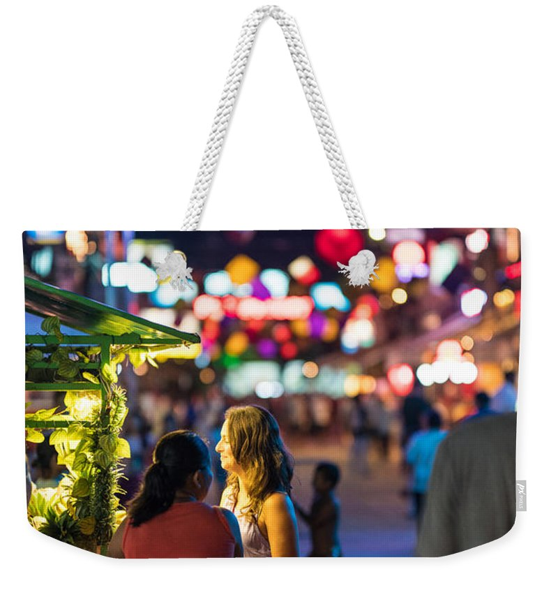 Vendor Weekender Tote Bag featuring the photograph Pub Street Cambodia Night Vendors by Mike Reid