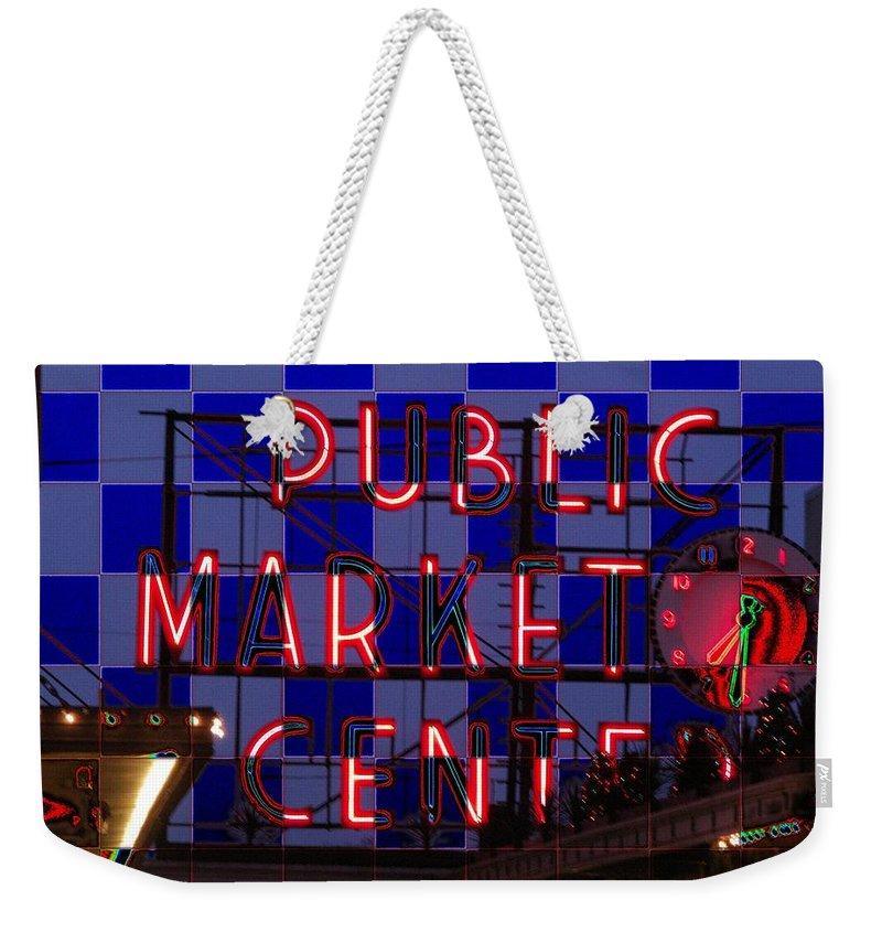 Seattle Weekender Tote Bag featuring the digital art Public Market Checkerboard by Tim Allen