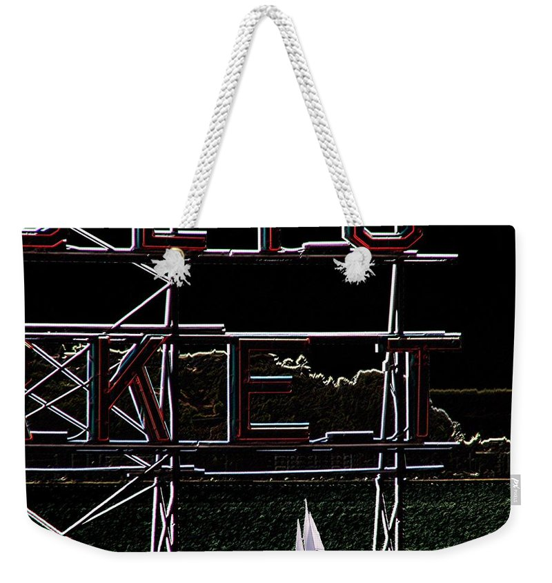 Seattle Weekender Tote Bag featuring the photograph Public Market Sail by Tim Allen