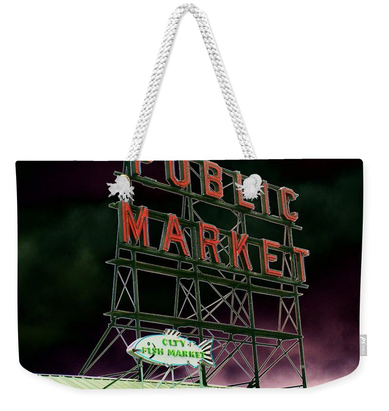 Seattle Weekender Tote Bag featuring the photograph Public Market by Tim Allen