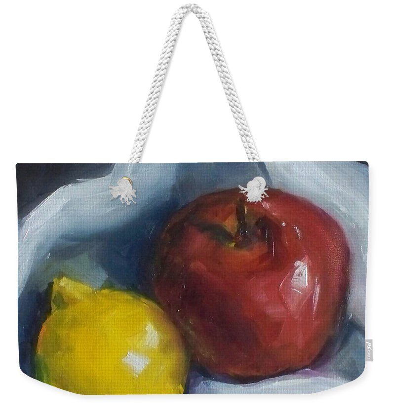 Apple Weekender Tote Bag featuring the painting Pucker Up by Kristine Kainer