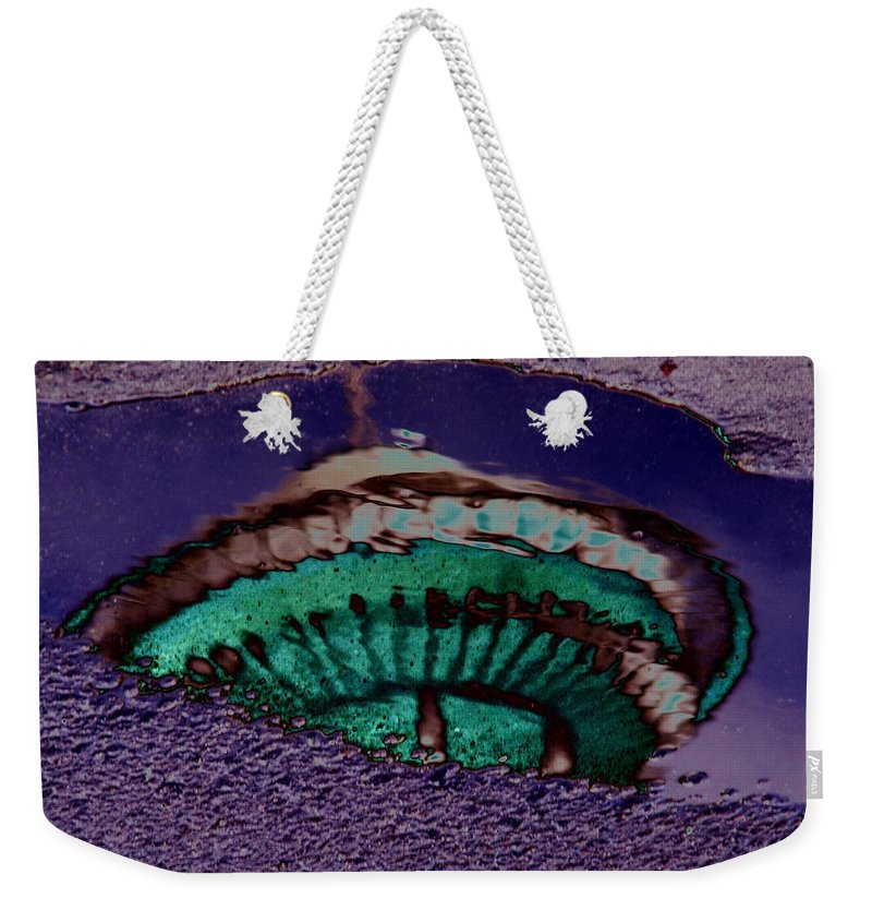 Seattle Weekender Tote Bag featuring the digital art Puddle Needle by Tim Allen