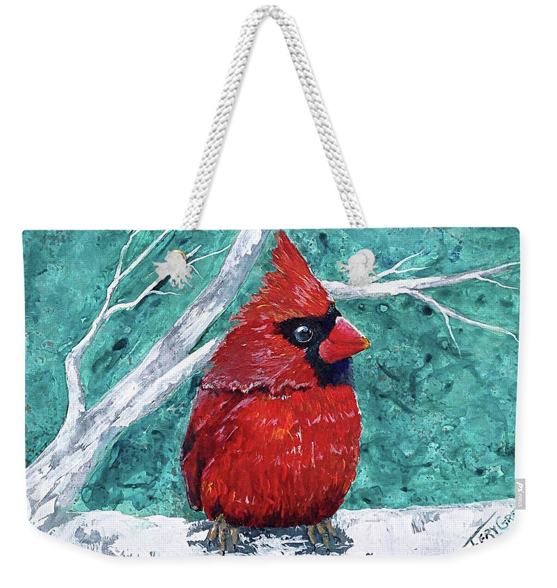 Cardinal Weekender Tote Bag featuring the painting Pudgy Cardinal by T Fry-Green