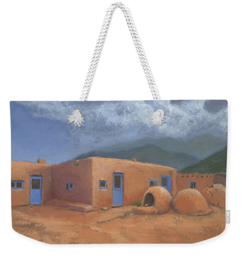 Taos Weekender Tote Bag featuring the painting Puertas Azul by Jerry McElroy