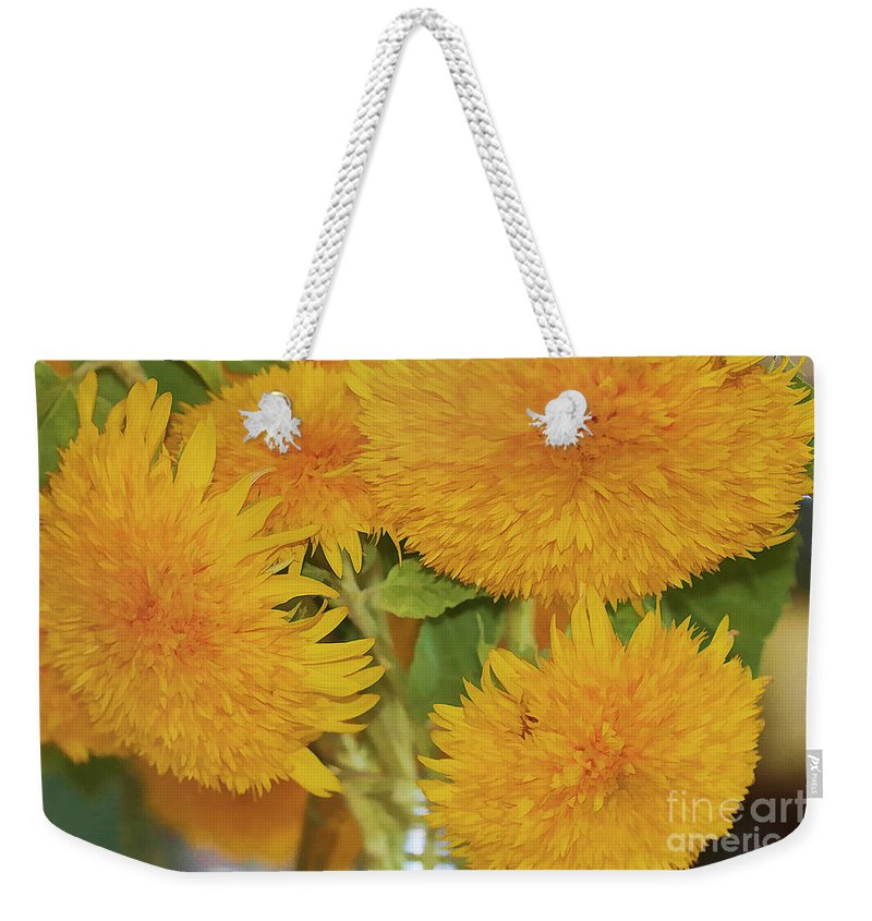 Flowers Weekender Tote Bag featuring the photograph Puffy Golden Delight by Deborah Benoit