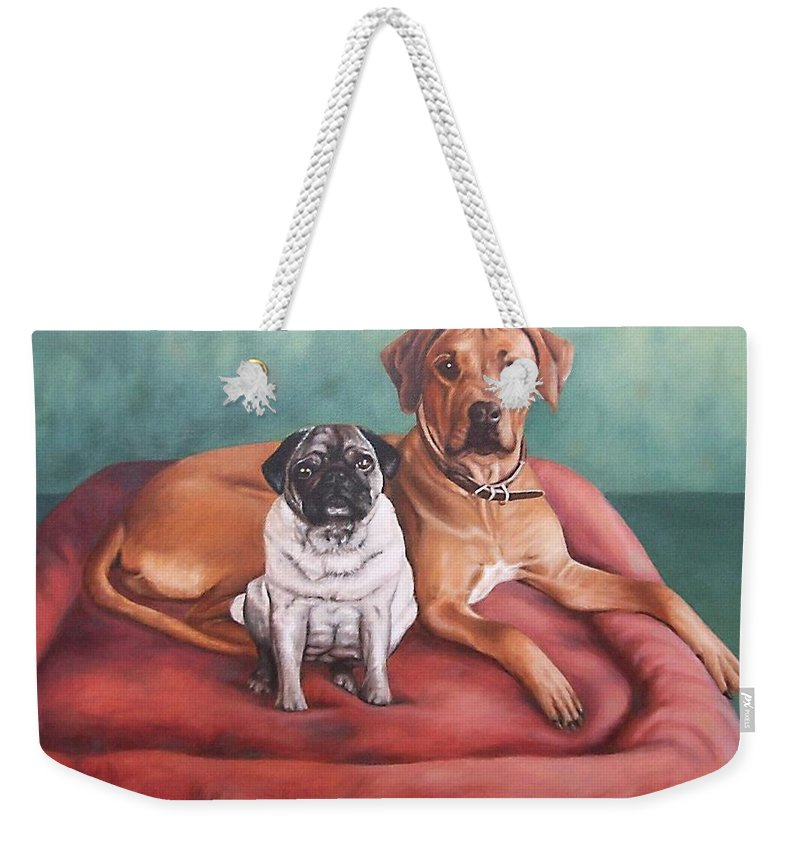 Dogs Weekender Tote Bag featuring the painting Pug And Rhodesian Ridgeback by Nicole Zeug