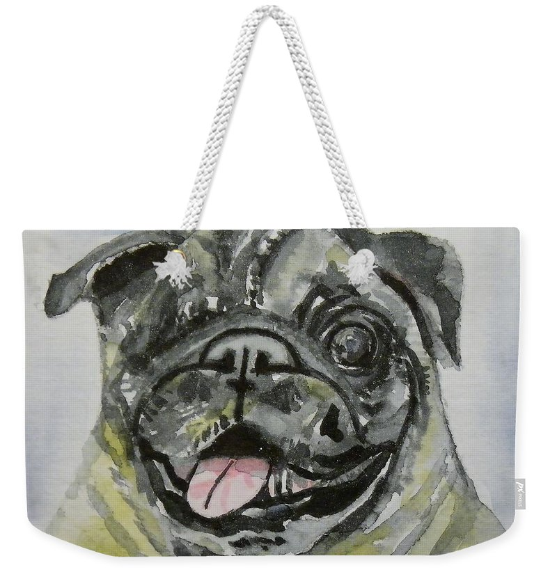 Dog Weekender Tote Bag featuring the painting One Eyed Pug Portrait by Anna Ruzsan