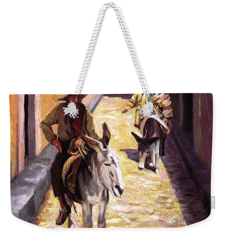 Impressionism Weekender Tote Bag featuring the painting Pulling Up The Rear In Mexico by Nancy Griswold