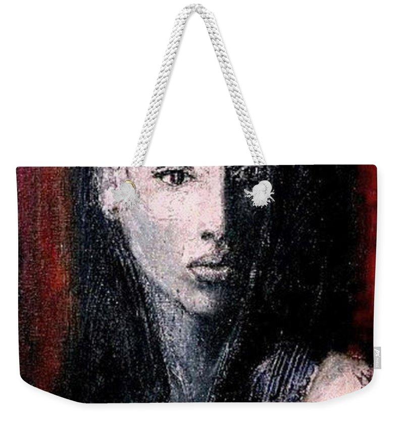 Portrait Art Weekender Tote Bag featuring the painting Pulsar by Jarmo Korhonen aka Jarko