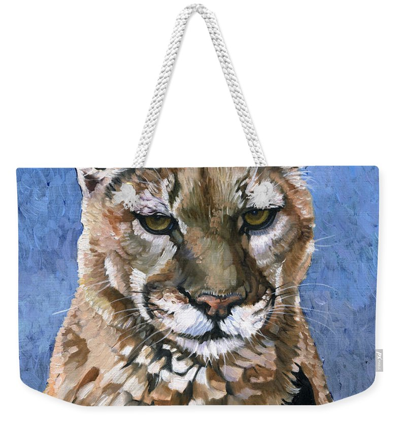 Puma Weekender Tote Bag featuring the painting Puma - The Hunter by J W Baker