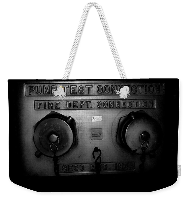 Color Photograph Weekender Tote Bag featuring the photograph Pump Test Two by Thomas Valentine