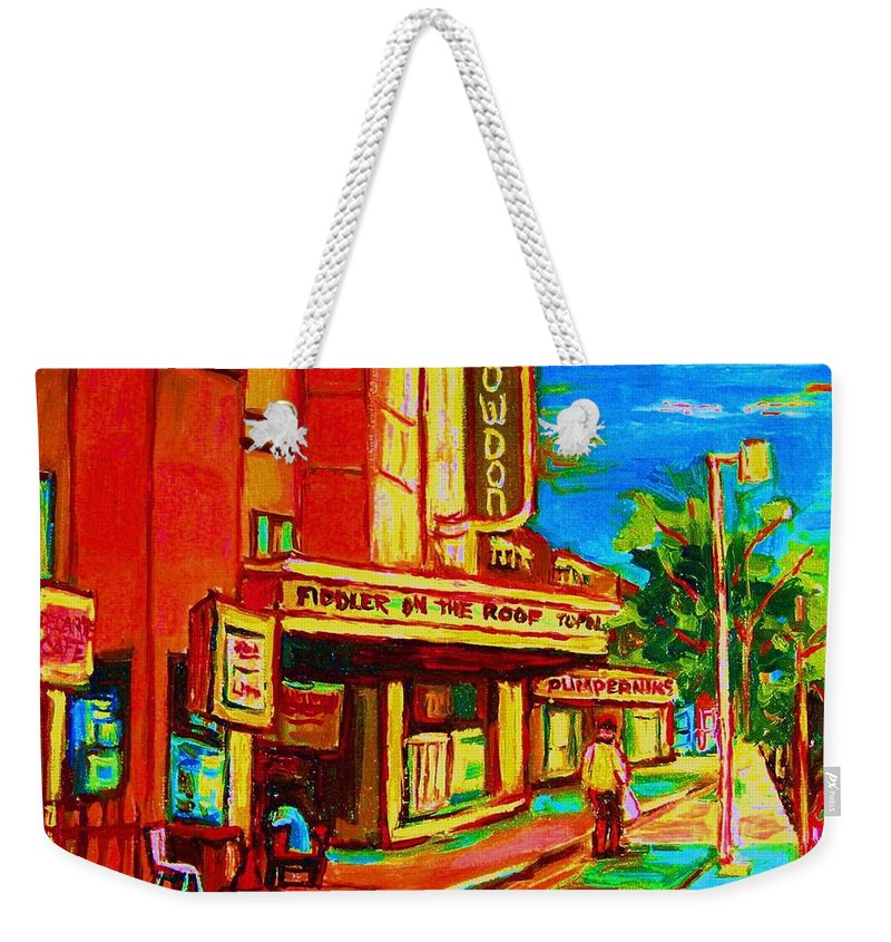 Pumperniks Weekender Tote Bag featuring the painting Pumperniks And The Snowdon Theatre by Carole Spandau