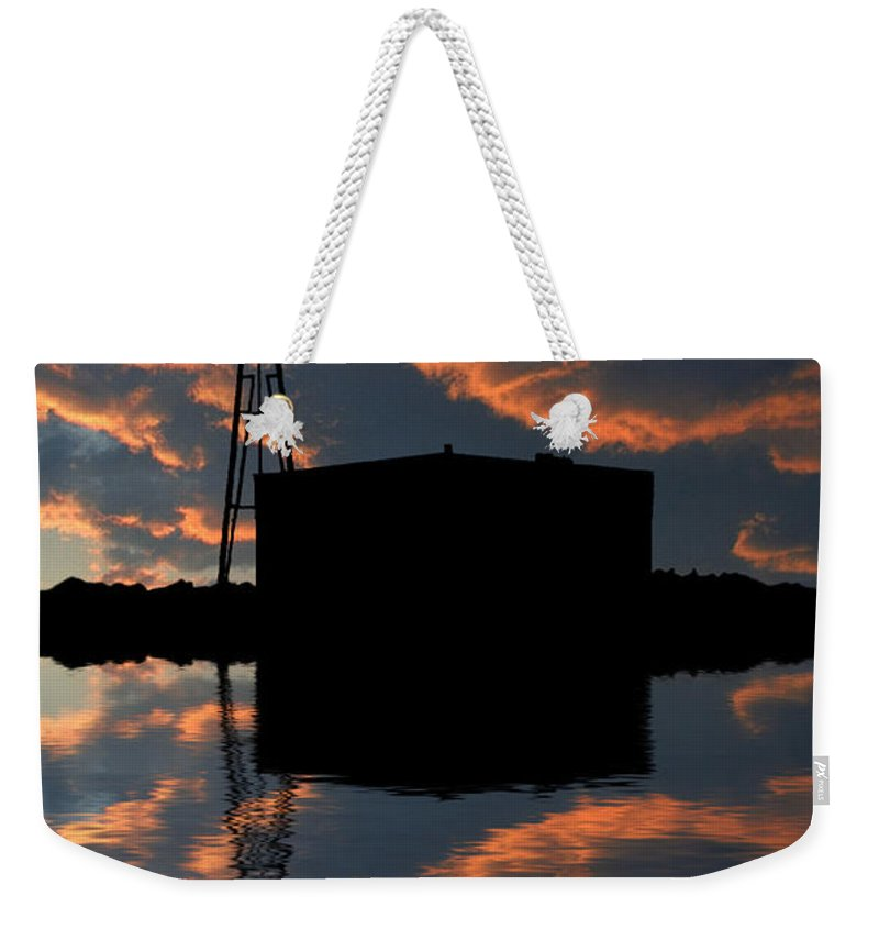 Windmill Weekender Tote Bag featuring the photograph Pumping Water by Jerry McElroy