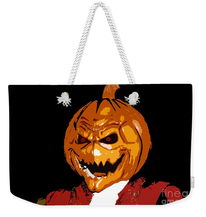 Halloween Weekender Tote Bag featuring the digital art Pumpkin Head by David Lee Thompson