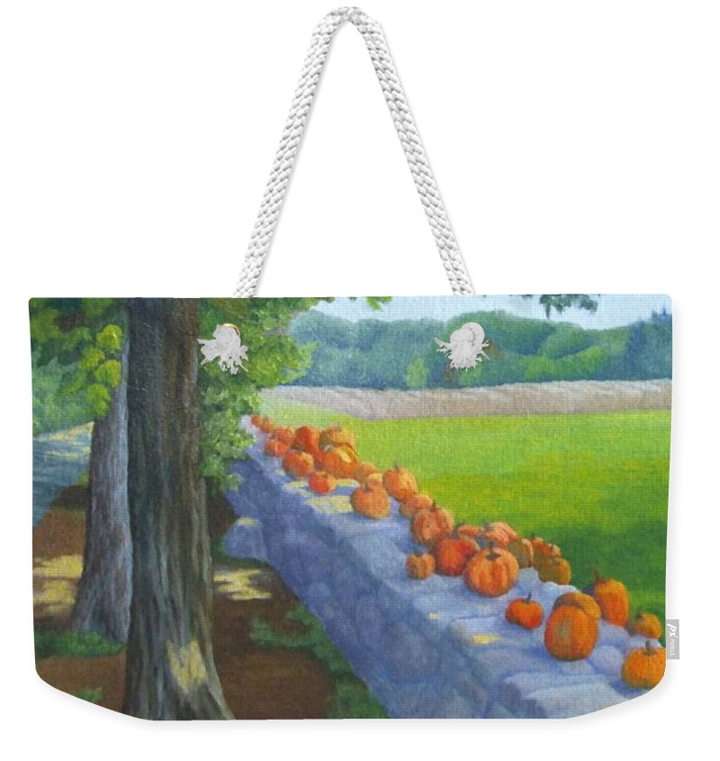 Pumpkins Weekender Tote Bag featuring the painting Pumpkin Muster by Sharon E Allen