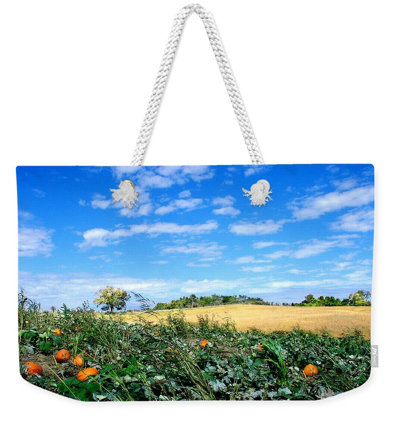 Landscape Weekender Tote Bag featuring the photograph Pumpkin Patch by Steve Karol