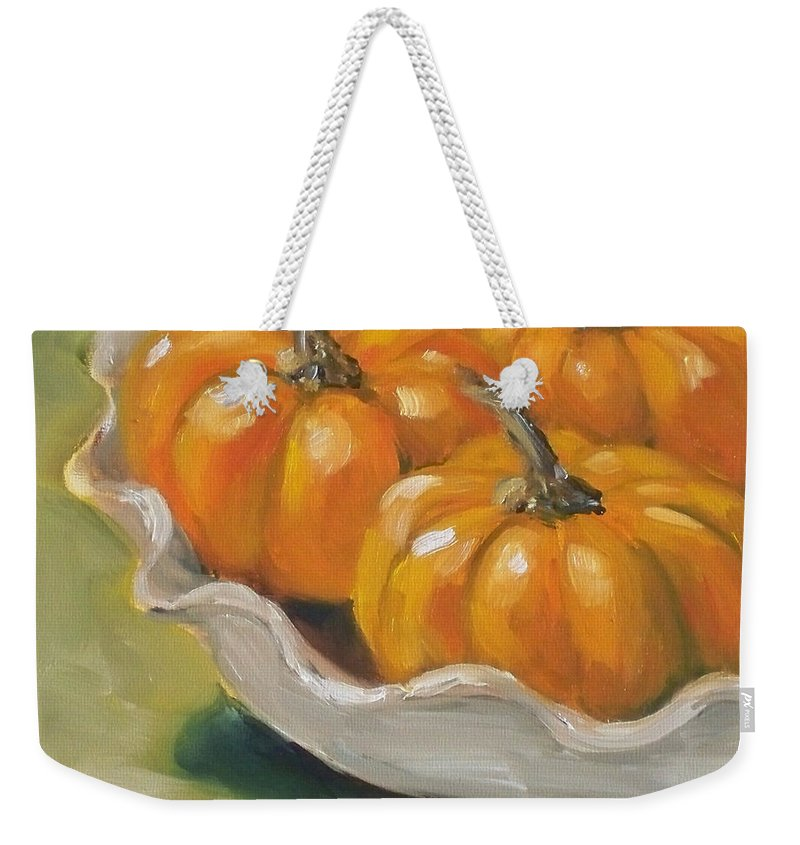 Pumpkins Painting Weekender Tote Bag featuring the painting Pumpkin Pie by Kristine Kainer