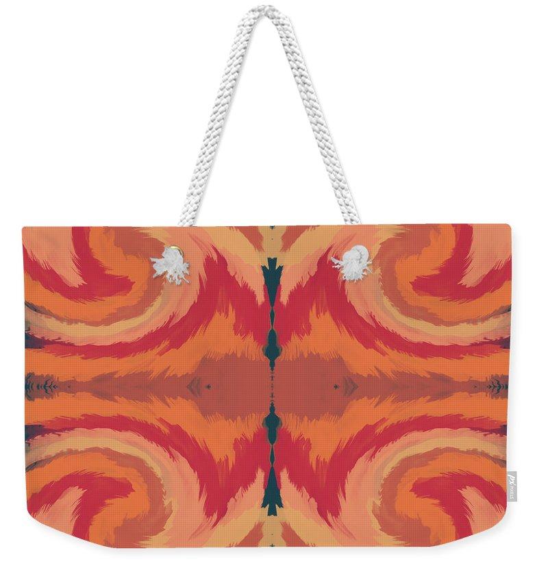 Pattern Weekender Tote Bag featuring the mixed media Pumpkin Spice- Art By Linda Woods by Linda Woods