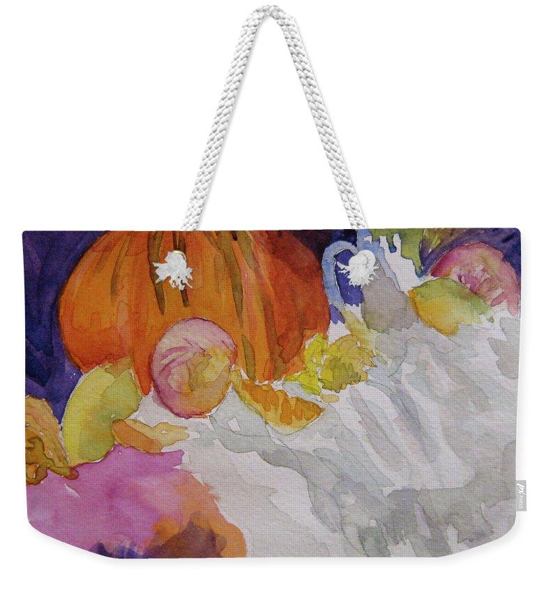 Pumpkin Weekender Tote Bag featuring the painting Pumpkin Still Life by Beverley Harper Tinsley