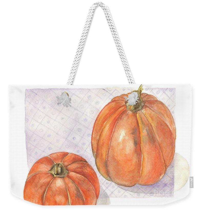 Harvest Weekender Tote Bag featuring the painting Pumpkin by Yana Sadykova