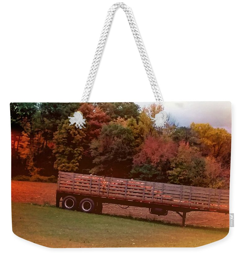 Pumpkins Weekender Tote Bag featuring the photograph Pumpkins Mellow by Jacqueline Whitcomb