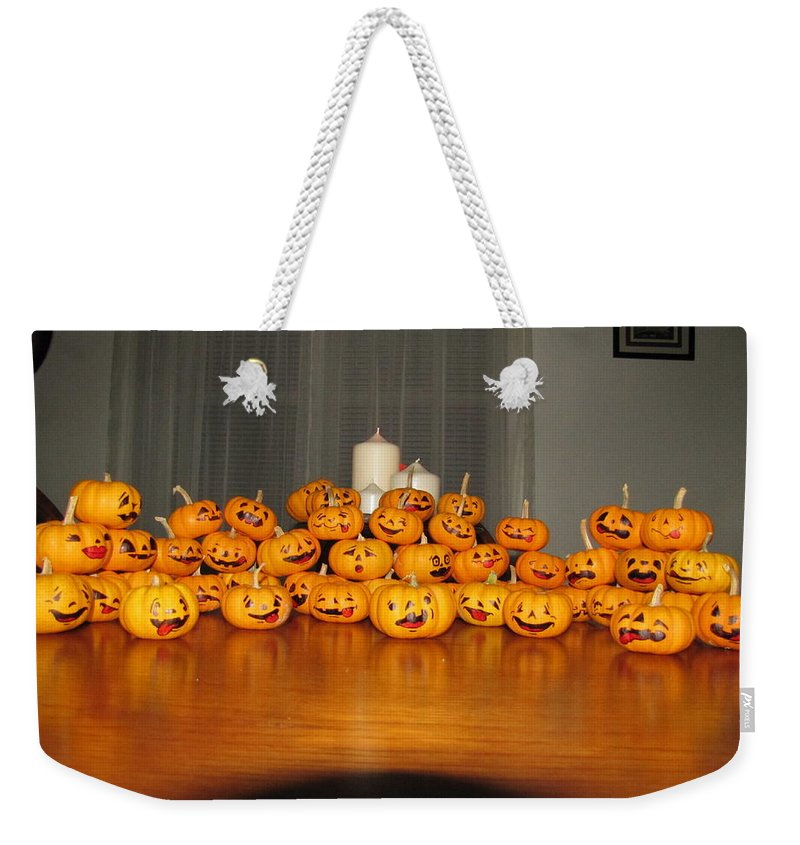 Pumpkins Weekender Tote Bag featuring the photograph Pumpkins by Michael TMAD Finney