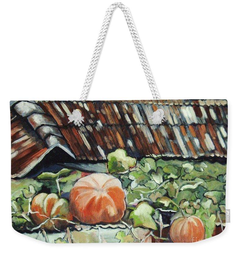 Pumpkin Paintings Weekender Tote Bag featuring the painting Pumpkins On Roof by Seon-Jeong Kim