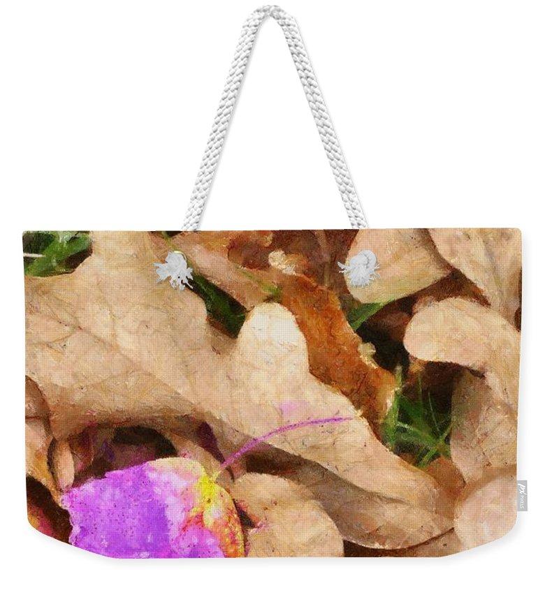 Purple Weekender Tote Bag featuring the painting Punk Leaf by Jeffrey Kolker