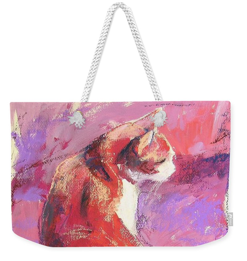 Cat Weekender Tote Bag featuring the painting Punkin by Mary McInnis