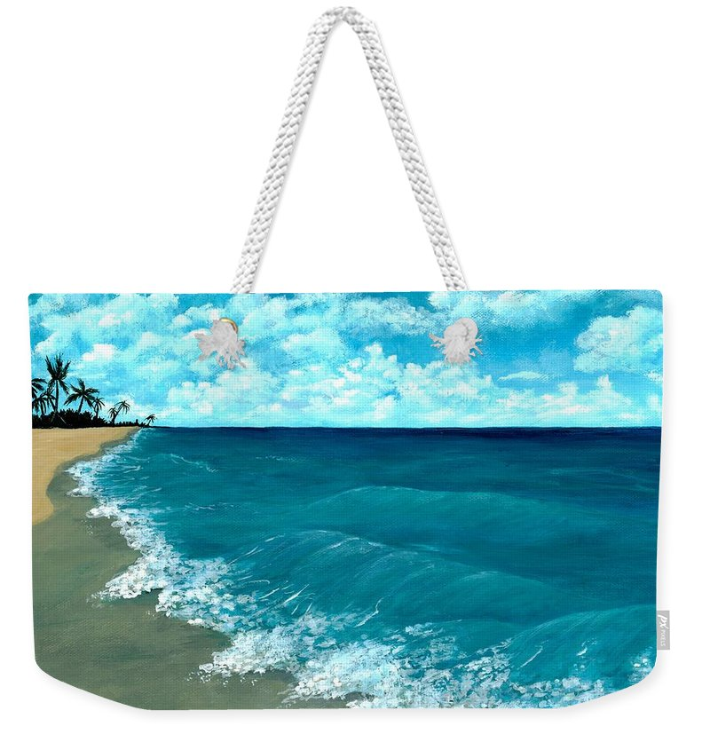 Blue Weekender Tote Bag featuring the painting Punta Cana Beach by Anastasiya Malakhova
