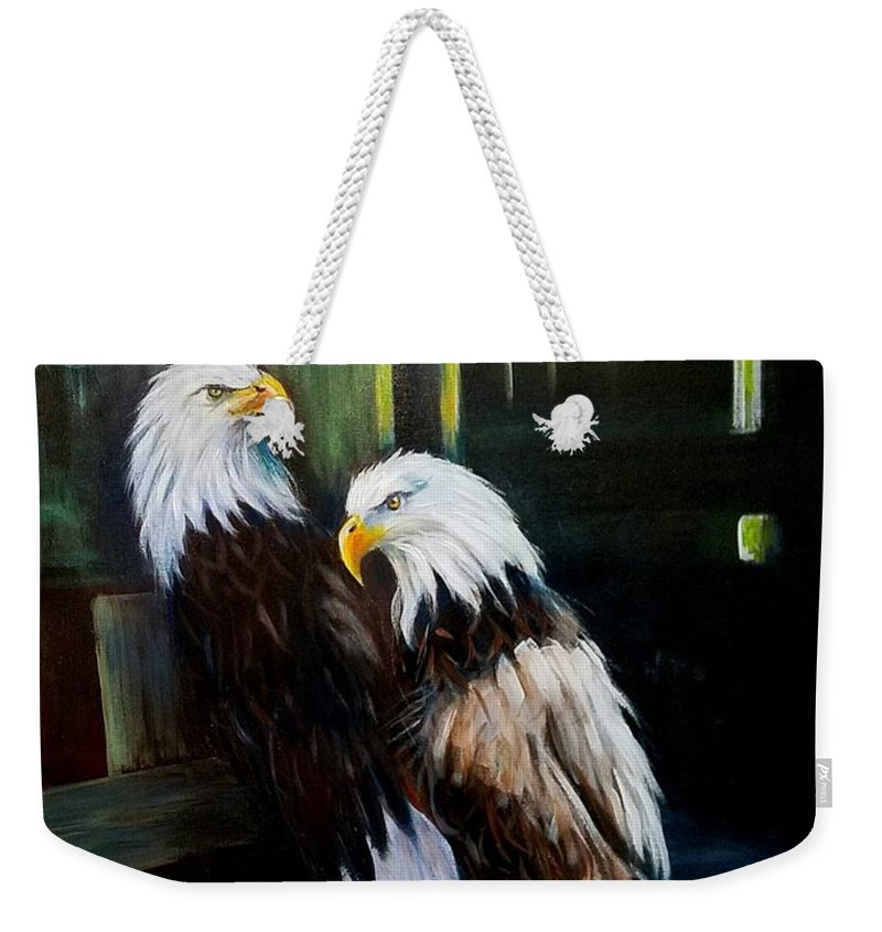 Egales In Bird Sanctuary. Punta Gorda Rescue.nature Art Weekender Tote Bag featuring the painting Punta Gorda Florida Rescue by Larry Palmer