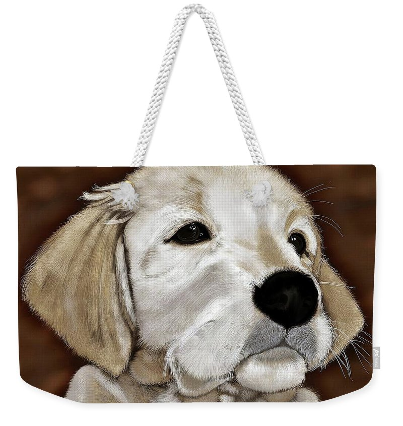 Puppy Weekender Tote Bag featuring the digital art Puppy by Allen Beilschmidt