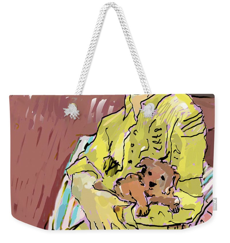 Figure Weekender Tote Bag featuring the painting Puppy Love by Thomas Tribby