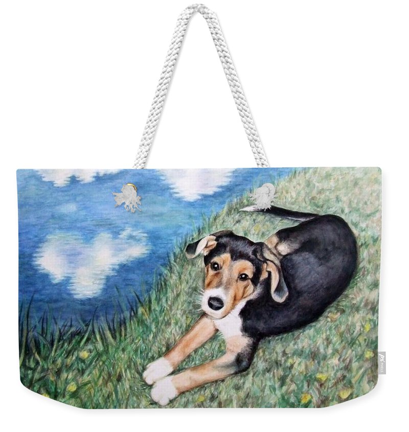 Dog Weekender Tote Bag featuring the painting Puppy Max by Nicole Zeug