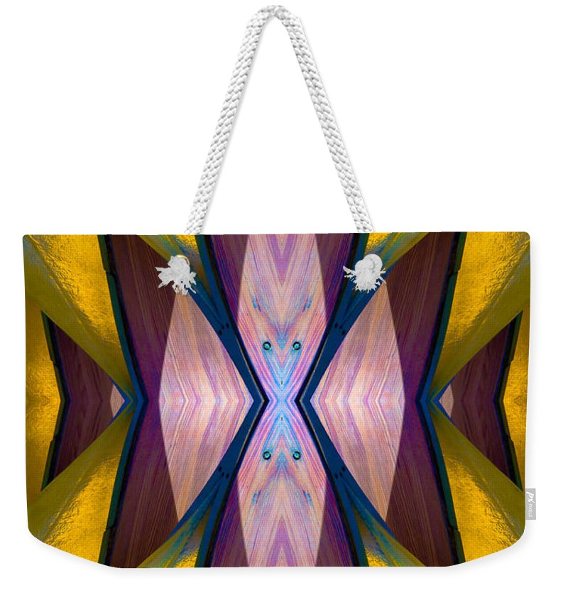 Weekender Tote Bag featuring the photograph Pure Gold Lincoln Park Wood Pavilion N89 V1 by Raymond Kunst