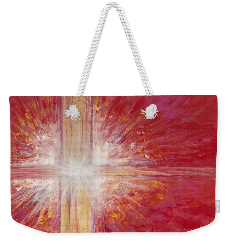 Light Weekender Tote Bag featuring the painting Pure Light by Nadine Rippelmeyer