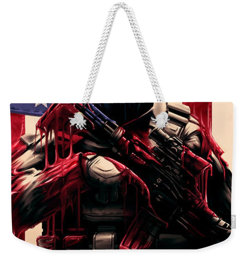 Usa Weekender Tote Bag featuring the digital art Pure Valor by Canvas Cultures