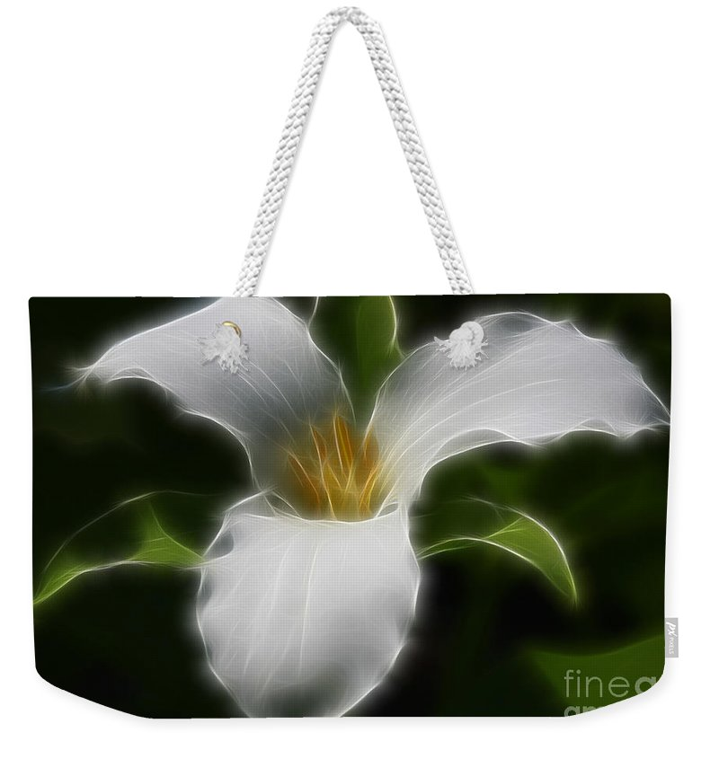 Flower Weekender Tote Bag featuring the photograph Pure White Trillium by Deborah Benoit