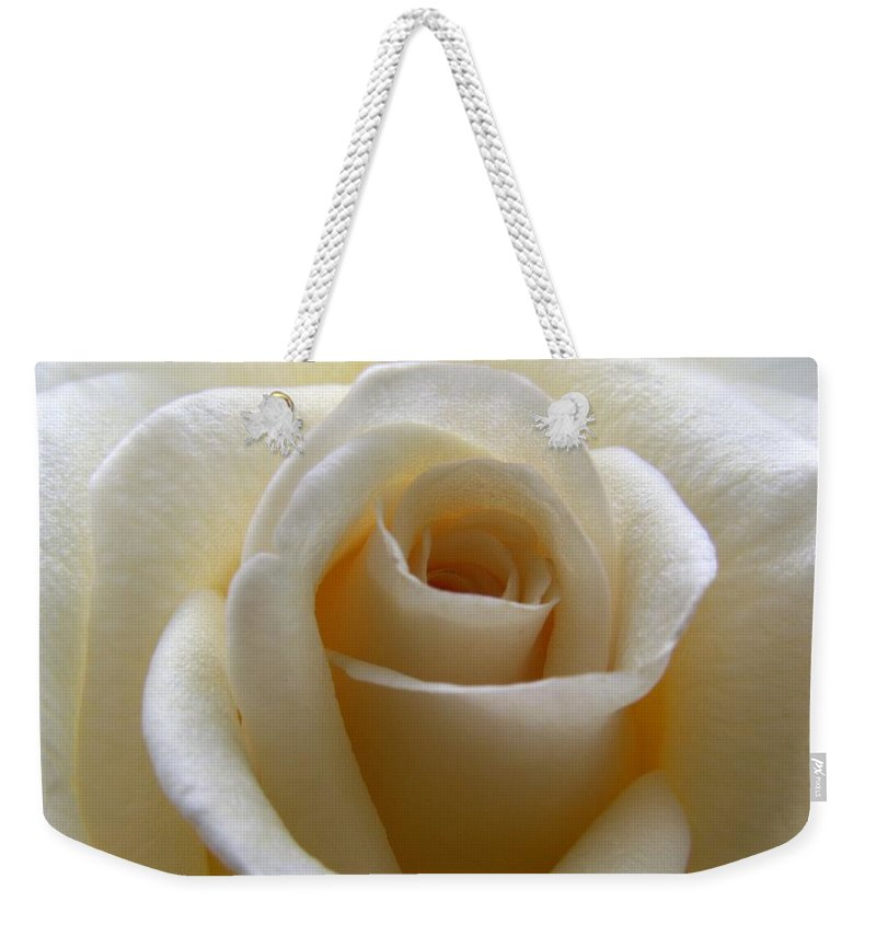 Rose Weekender Tote Bag featuring the photograph Purity by Amy Fose