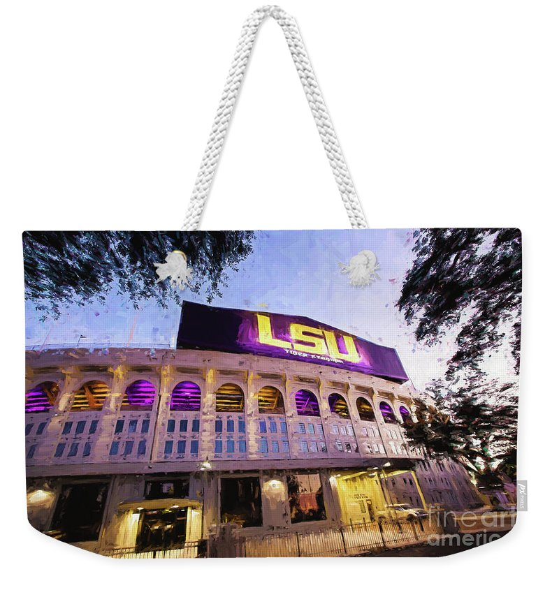 Lsu Weekender Tote Bag featuring the photograph Purple And Gold - Digital Painting by Scott Pellegrin