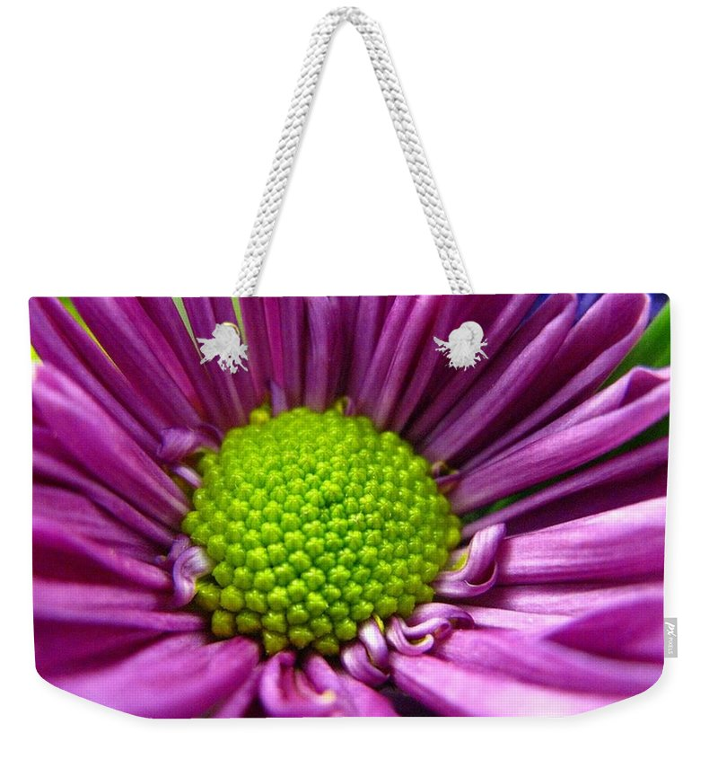 Flower Weekender Tote Bag featuring the photograph Purple And Green by Rhonda Barrett