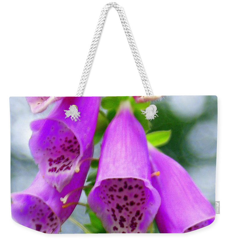 Flowers Weekender Tote Bag featuring the photograph Purple Bells by Marty Koch