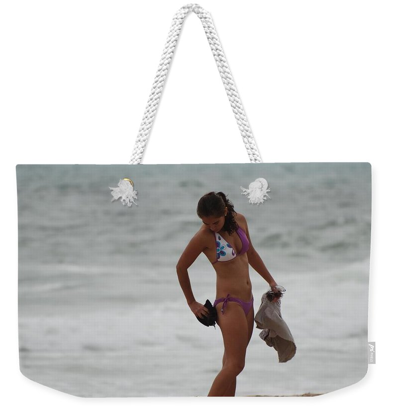 Bikinis Weekender Tote Bag featuring the photograph Purple Bikini by Rob Hans