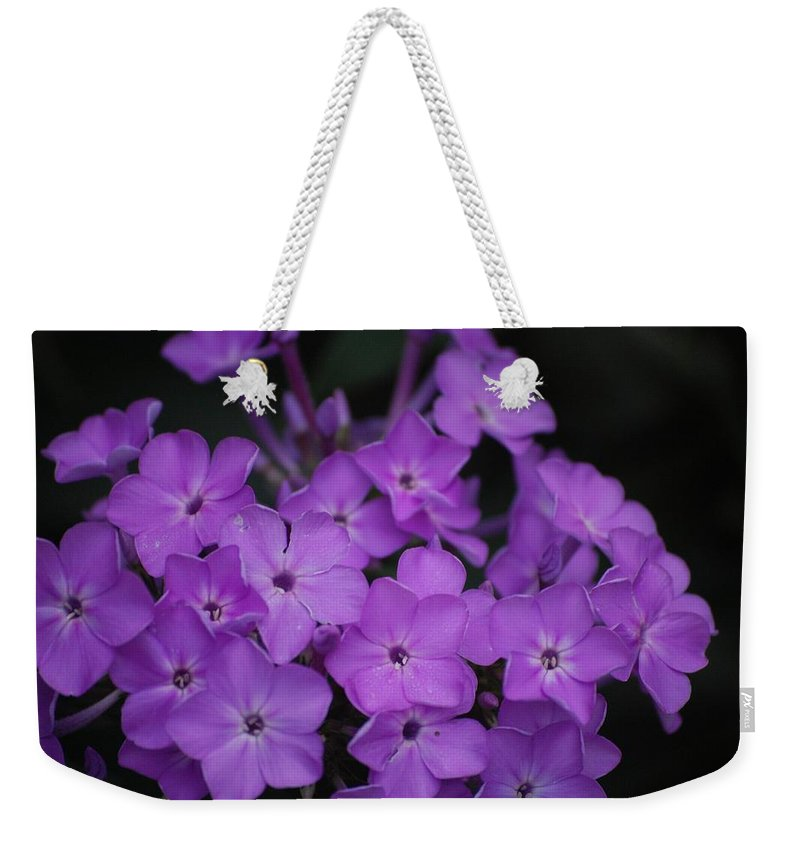 Digital Photo Weekender Tote Bag featuring the photograph Purple Blossoms by David Lane