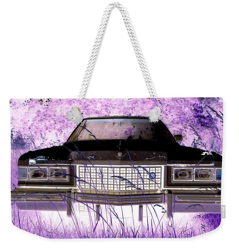 Car Weekender Tote Bag featuring the photograph Purple Cadillac by Julie Niemela