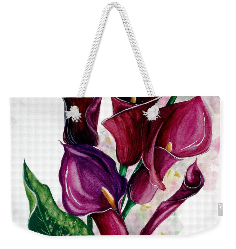 Purple Calla Painting Floral Painting Flower Painting Calla Lily Painting Lilies Painting Greeting Card Painting Botanical Painting Weekender Tote Bag featuring the painting Purple Callas by Karin Dawn Kelshall- Best