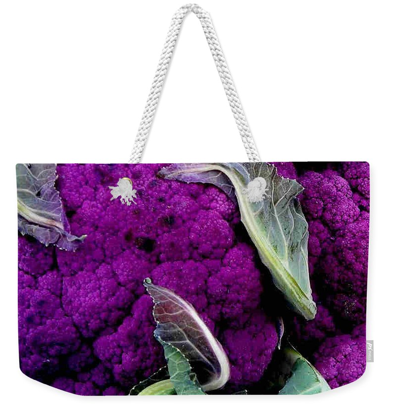 Purple Cauliflower Weekender Tote Bag featuring the photograph Purple Cauloflower by Dragica Micki Fortuna